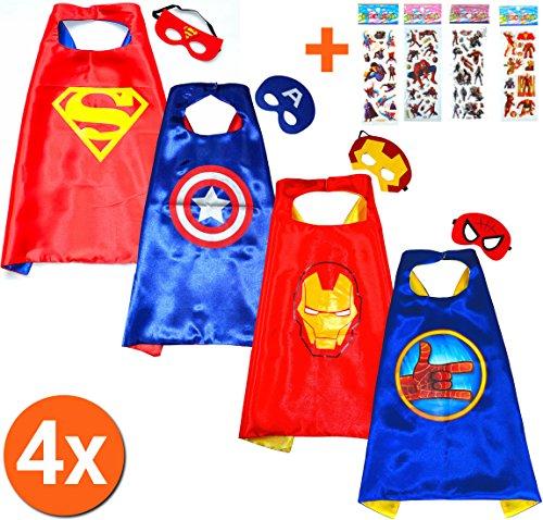 Superman red + iron man + captain america + spider hand cape e maschera (set 4 pezzi) + di 4. kim e maschera - super eroi di costumi per bambini - giocattolo travestimenti e costumi ragazzi carnevale o feste a tema. - king mungo - kmsc042
