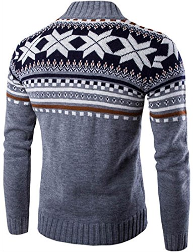 jeansian Herren Strickjacken Snowflake X-Mas Cardigan Long Sleeve Button Down Knit Sweater Winterwear Jumper 88G4 LightGray