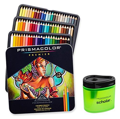 Prismacolor Premier suave núcleo de colores lápiz, conjunto de 72colores surtidos (3599tn) + Prismacolor Académico de colores lápiz sacapuntas (1774266)