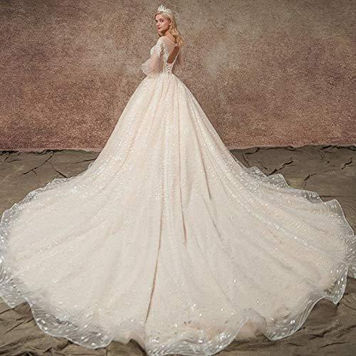 WYEING. Braut Hochzeitskleid Damen,Herzform Tüll Spitzenstickerei Lange Ärmel Langer Schwanz...