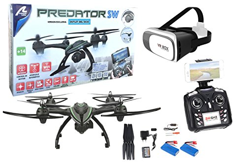 Big radio drone with Predator FPV Wifi camera + VR glasses. Pilot as if you were inside the drone. 2 batteries included