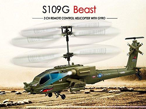 s-idee® 01177 | S109G Heli Blackhawk UH-60 Apache Militär Army Hubschrauber mit der neuesten Gyro-Technik, RTF Komplett-Set