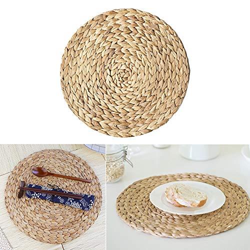 4 manteles individuales redondos de jacinto de agua y posavasos, mantel trenzado de paja antideslizante y protectores de mesa - 30 cm Mini almohadillas resistentes a las manchas, marrón, Tamaño libre