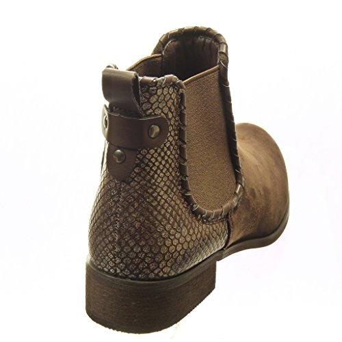 Angkorly - damen Schuhe Stiefeletten - Chelsea Boots - bi-Material - Schlangenhaut - Nieten - besetzt Blockabsatz 3 CM Braun