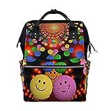 Emoya Stilvoller Schulrucksack im Arzt-Stil, bunt, Smile, Emoji, Reisetasche für Männer und Frauen
