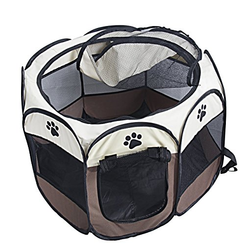 Portable Foldable Water Resistant Dog Playpen Pet Kennel 600D Oxford 8 Panels 2 Doors Mesh Window Shades Tents for Puppy Cat Rabbit Guinea Pig(Brown, S)