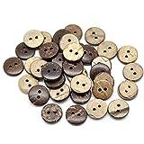 Thinkin 50Pcs 15Mm Brown Coconut Shell 2 Fori Bottoni da Cucire Scrapbooking, Scrapbooking Crafts, 7Nk246