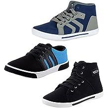 JABRA Perfect Combo of 3 Sneaker Shoes for Men (Arrow Grey+Br-1 Blue+Boxer Black)