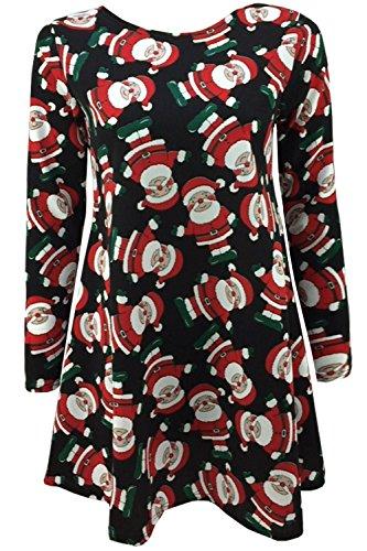 Oops Outlet Pour Femmes Noël Robes À Manches Longues Femmes Olaf Santa Cadeaux & Cloches Bonhomme De Neige Noël Swing Grande Taille 8-26 Agite Le Bras Père Noël Noir