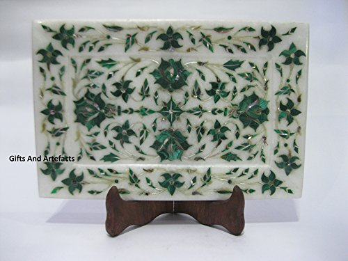 22,9 x 15,2 cm rectangle blanc en marbre Plateau de service avec incrustation Malachite Fleur