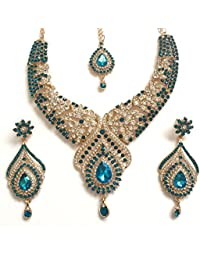 11ce7433aa90 Juego de joyería de Oro Turquesa con Cristales Indios de Bollywood con  Collar y Cadena para