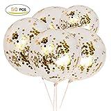 Shinehalo 50 Stück Gold Konfetti Ballons, 12 Zoll High Quality Premium Party Ballons mit Goldenen Papier Konfetti Punkte für Party, Dekorationen, Hochzeit und Geburtstagsfeier-Elfenbein weiß