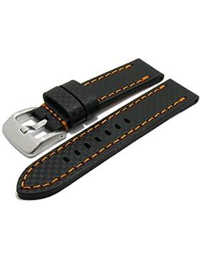 Meyhofer Uhrenarmband Lethbridge 22mm schwarz Leder Carbon-Look orange Naht MyCsklc7002/22mm/schw/orN