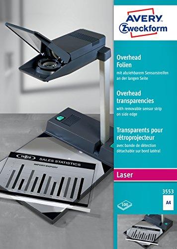 AVERY Zweckform 3553 Overhead-Folien (A4, spezialbeschichtet, stapelverarbeitbar, 100 Blatt)