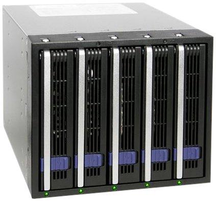 festplattenserver Icy Dock DataCage Classic MB455SPF-B (5x 3,5 Zoll SATA HDD Wechselrahmen mit Alarm)