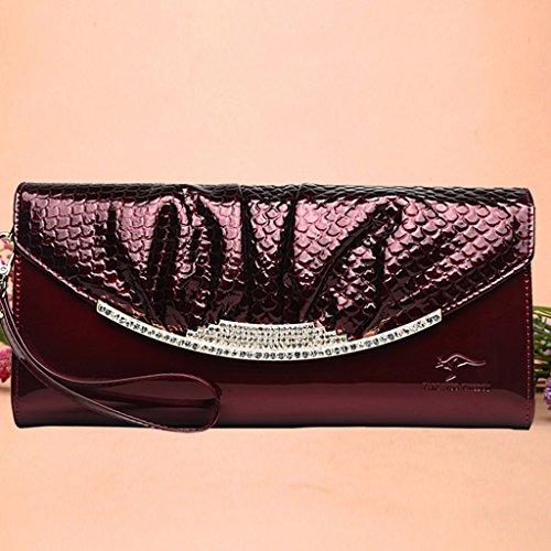 Kangaroo frizione borse donna borsa pacchetto pochette a mano ad alta capacità delle donne a tracolla in pelle selvatici moda Messenger Bag ( Colore : Nero ) Burgundy