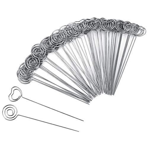 k Metalldraht Nota Memo Clip Papier Tabellenklammer Photo Stand für die Dekoration der Hochzeitstorte, rund und herzförmig ()