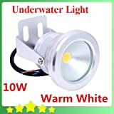 Warm White 10W 12V Underwater Led Light 1000LM Waterproof IP68 Fountain Pool Lamp Body Silver Warm White FREE SHIPPING