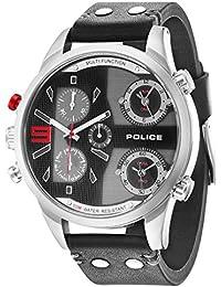 Policía Copperhead Hombre Reloj de cuarzo con cronógrafo y negro correa de piel 14374js/02