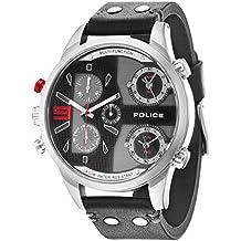 Police 14374XSUG/02. Reloj de pulsera con cronógrafo para hombre (mecanismo de cuarzo, esfera negra y correa de piel negra)