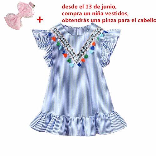 Fossen Niñas Vestidos con volantes Borla de la raya de Fiesta (Azul, 2-3 años)