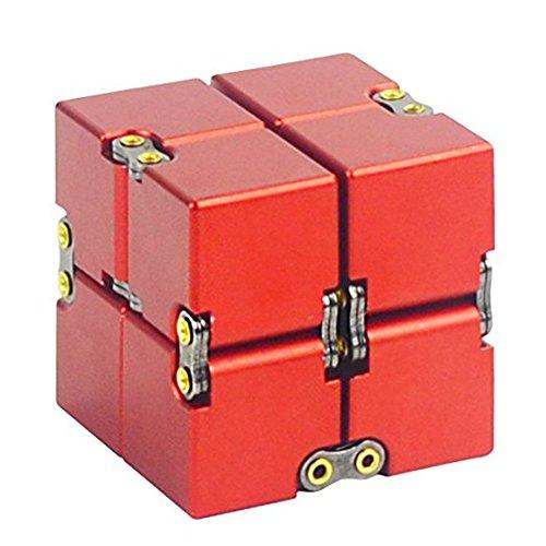 KENROLL Infinity Fidget Magic Cube Sensory Toy Alluminio Puzzle Box Design Anti Stress e sollievo di ansia Promuove la messa a fuoco, la chiarezza (Rosso)