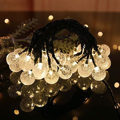WM Solar Lichterkette Bubble Ball Lichterkette Dekoration Licht Geeignet für Weihnachten Garten Family Party Festival,Warmwhite