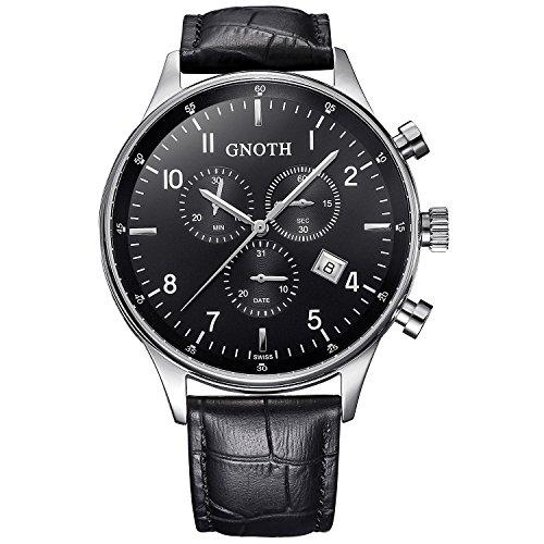 GNOTH Herren Schwarz Chronograph Casual Analog Quarz Armbanduhr mit Lederarmband (schwarz)