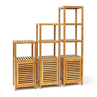 Relaxdays | Badregal aus Bambus mit Ablageflächen und Tür