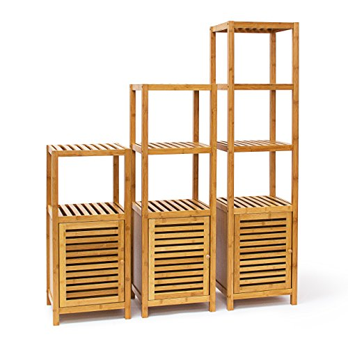 Relaxdays Badregal Bambus mit 3 Ablageflächen HxBxT 80x36,5x33 cm  praktisches Holzregal mit mehreren Ebenen und Schrankteil mit magnetischem  ...