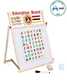 FunBlast™Educational Learning Board Multipurpose Double-Sided Magnetic Wooden Writing, Mathematical Calculations & English Alphabets,White and Black Board,Size: 44 x 36 CM
