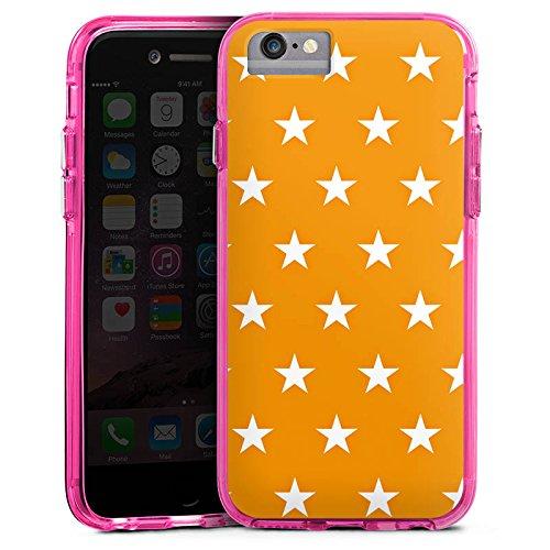 Apple iPhone 6s Bumper Hülle Bumper Case Glitzer Hülle Sterne Stars Orange Bumper Case transparent pink