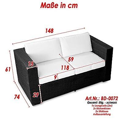 XINRO (2er) Polyrattan Lounge Sofa - Gartenmöbel Couch Bank Rattan - durch andere Polyrattan Lounge Gartenmöbel Elemente erweiterbar - In/Outdoor - handgeflochten