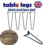 4 robuste Haarnadel-Tischbeine aus Metall/Eisen/Stahl mit zwei Stangen zum Selbermachen von Möbeln, Tischbeinen perfekt für Couchtisch, Esstisch, Designerschreibtisch, Nachttisch, 40,6 cm, Stahl