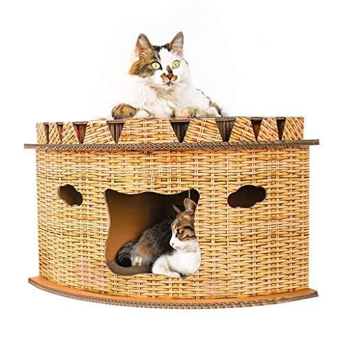 HQSB Cama para Gatos, Resistente Al Desgaste, Papel Corrugado, Multiusos, Casa para Gatos, Juguete, Gato Grande, Almohadilla para Rayar, Tablero