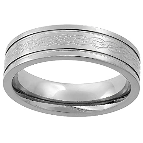 Titanium 6 mm Flat Wedding Band Ring Etched Celtic Knot work Raised Edges Comfort Fit, size R
