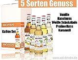 Kaffee Set - 5x Monin Sirup - Weiße Schokolade, Praline Nuss, Haselnuss, Vanille & Karamell im Set (6x0,7l)