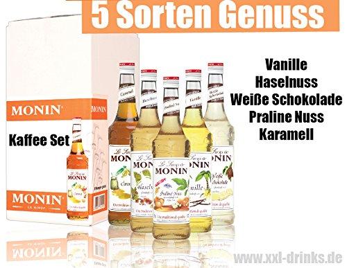 Kaffee Set - 5x Monin Sirup - Weiße Schokolade, Praline Nuss, Haselnuss, Vanille & Karamell im Set (5x0,7l)