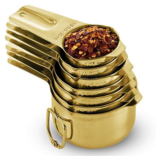 FineDine [7] Edelstahl Messbecher -, aus 1 Massiv Stück 18/8 Edelstahl, Gravur Messungen, Dual Ausgießtüllen, nestbar Messbecher Set für Trockene, Flüssige Zutaten, Kochen und Backen Gold