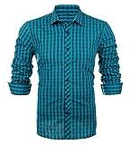 Schonlos karierte Hemden Herren Langarm Hemd aus reiner Baumwolle slim fit Shirts Party Freizeit Casual(42, BLG)