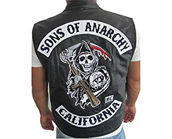 veste gilet en cuir sans manche style jax sons of anarchy m v tements et accessoires. Black Bedroom Furniture Sets. Home Design Ideas