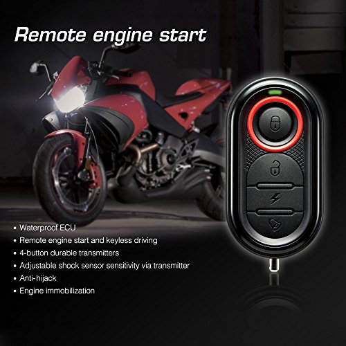 Steelmate Motorcycle Anti-theft Alarm with Remote Engine Start; 986E 1 Way Motorcycle Alarm System Remote Engine Start Motorcycle Engine Immobilization with Mini Transmitter