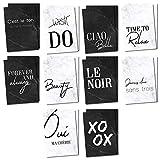 20er Postkarten-Set mit schönen Sprüchen in schwarz weiß I dv_345 I Format DIN A6 I Spruch-Karten mit Marmor-Motiv I zum Beschriften und Verschicken