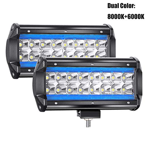 YUGUANG 7' Coppia CREE Proiettore a LED Pure White 6000K+8000K Ice Blue 240W 24000LM 9-30V LED Bar OFF-ROAD Faro da Lavoro Spot Light Flood Fendinebbia Camion Trattore SUV Barca Harvest