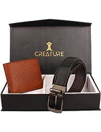 Creature Men's Reversible Pu-Leather Formal Belt And Designer Embossed Bi-Fold Men's Wallet Combo Pack(BL-06 J...