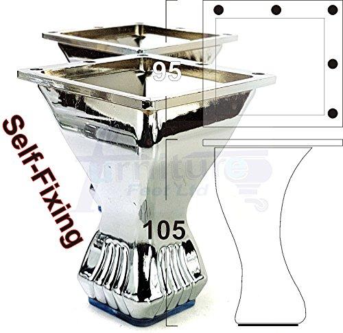 Knightsbrandnu2u 4x Möbelfüße Metall Ersatz-Beine in ein Chrom-Finish für Sofas, Stühle, Hocker, Betten & Unterschrank 120mm hoch–Pre Gebohrt, tsp2126 Schwarzes Finish Bücherregal