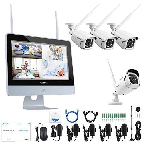 """ANNKE 4CH 1080P FHD kit Videosorveglianza Wireless Wi-FiAntifurto Casa Wirelesscon Monitor LCD da 12"""" Sistema IP Bullet 1080P Visione NotturnaAccesso Remoto senza HDD"""