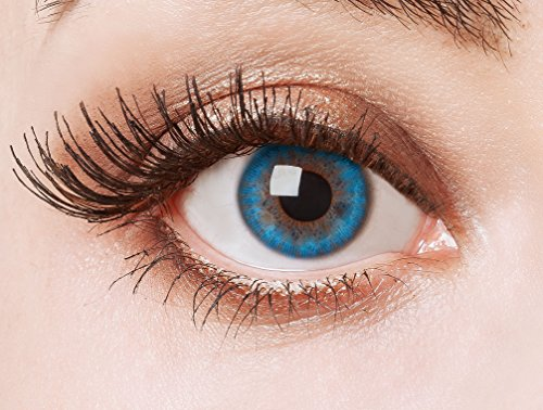 aricona Kontaktlinsen Farblinsen Aqua Natürlich, deckende und farbintensive für dunkle Augenfarben, farbige Jahreslinsen, blau, Ohne Sehstärke, 2 Stück
