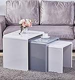GOLDFAN Set di 3 Tavolini Sovrapponibili Tavolini da caffè Quadrato Tavolino d'appoggio di Legno Comodino Multifunzionale Tavoli da Soggiorno Mobili per Ufficio Design Moderno