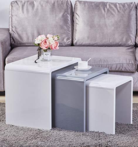 GOLDFAN Satztisch, Weiß, Moderner Beistelltisch 3er Kombination Couchtisch Sofatisch Couchtisch, Hochglanztisch,Wohnzimmertauglich, Weiß & Grau